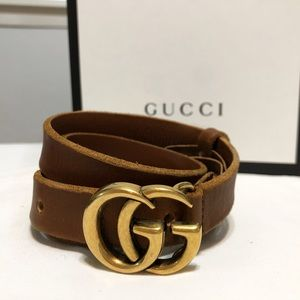 Gucci brown leather double interlock GG buckle